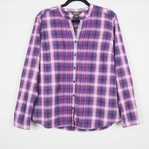 Eddie Bauer Plaid Long Sleeve Shirt Purple L
